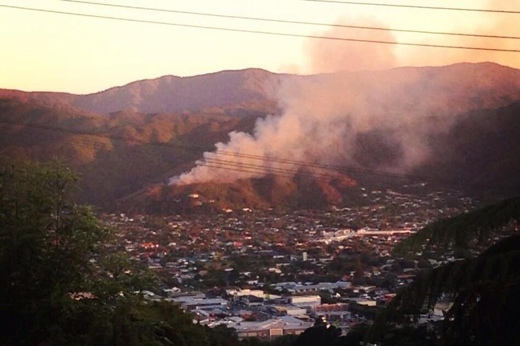 Fire on the eastern hills of the Hutt Valley.