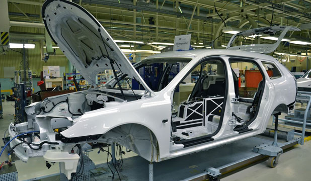 Saab's 9-3 ePower on the production line.