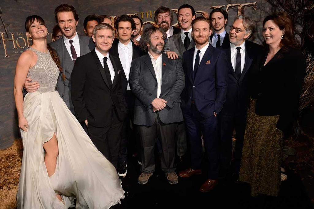 Cast and crew at the premiere of The Hobbit: The Desolation of Smaug in Los Angeles.