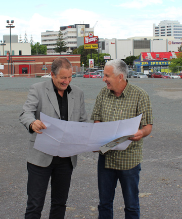 NEW BEGGININGS: Wiri Licensing Trust general manager Steve Wilkinson, left, and chairman Alan Johnson are excited about a new retail development the trust is building on land it owns in Manukau.
