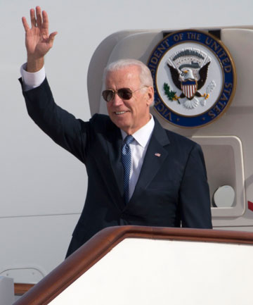 DOWN TO EARTH: US Vice President Joe Biden hoping for common sense talks with China President Xi Jinping after landing in Beijing aboard Air Force Two.
