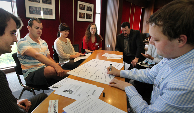 GETTING CONNECTED: From left, Angus Westgarth, Sam Wilson, Tessa Foley, Bronwyn Hargraves, Iain Bamber and Shaun Fisher take part in a brainstorming session in the district council chambers for the #Gigatown Timaru campaign.
