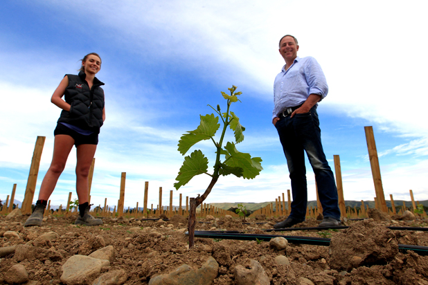 BUILDING A LEGACY: Brent Marris, right, is developing 600 hectares of land into a vineyard at Leefield Station in Waihopai Valley. His daughter Emma Marris, 19, is in Marlborough for her summer holidays and is helping with the development. She is studying a bachelor of viticulture and oenology at Adelaide University, the same degree Brent did 30 years ago