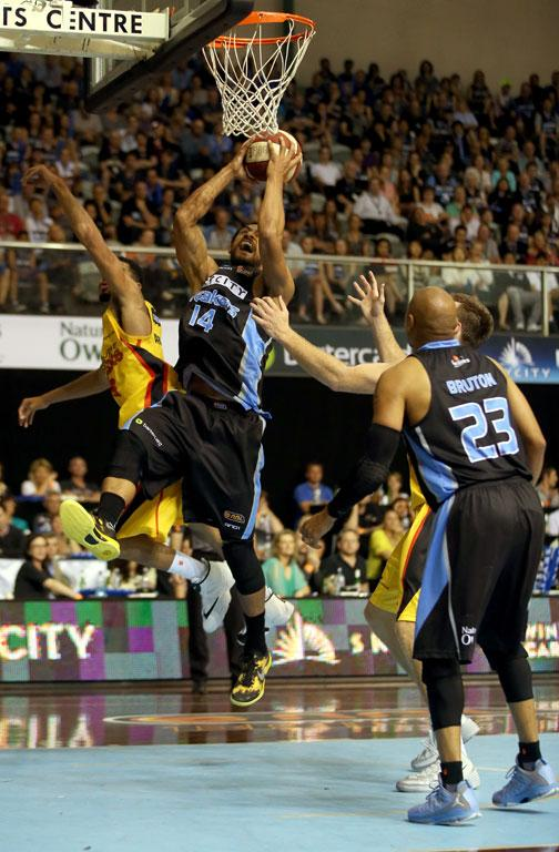 Mika Vukona of the Breakers secures a rebound during the round eight NBL match between the New Zealand Breakers and the Melbourne Tigers.
