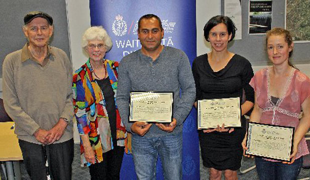 TIGHT NEIGHBOURS: Burglary victims Mervyn (left) and Anne McLean (second from left), with Bela Virag (centre), Petra Lipoth and Wendy Carswell (right) who helped to catch the burglar.