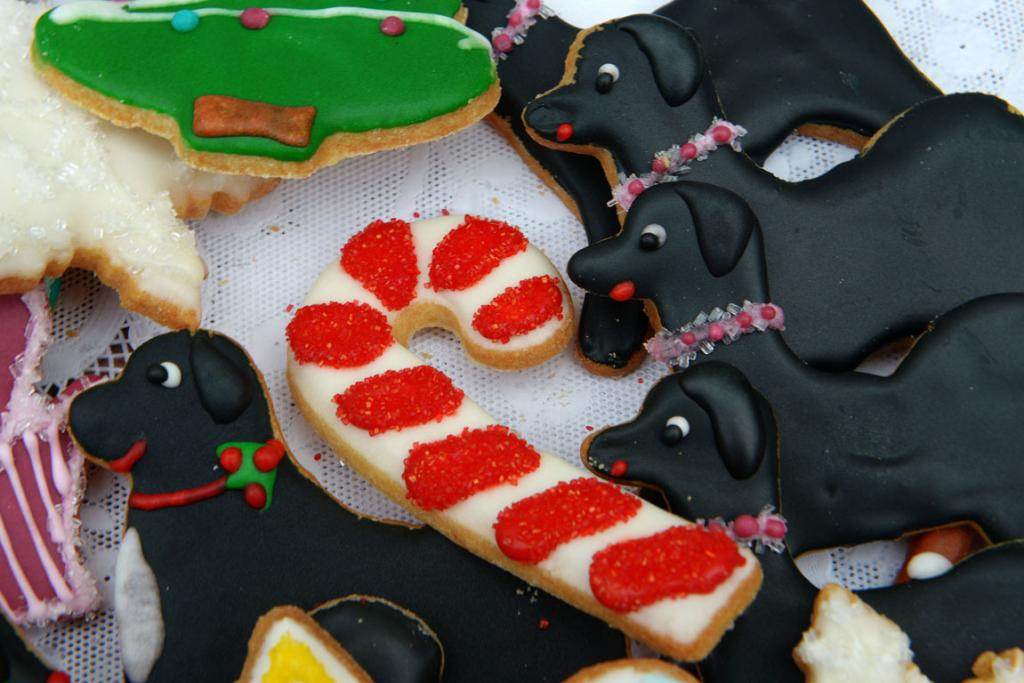 TASTY: Cookies in the shape of candy canes and the Obama family Portuguese water dogs, Bo and Sunny, are some of the treats on offer.