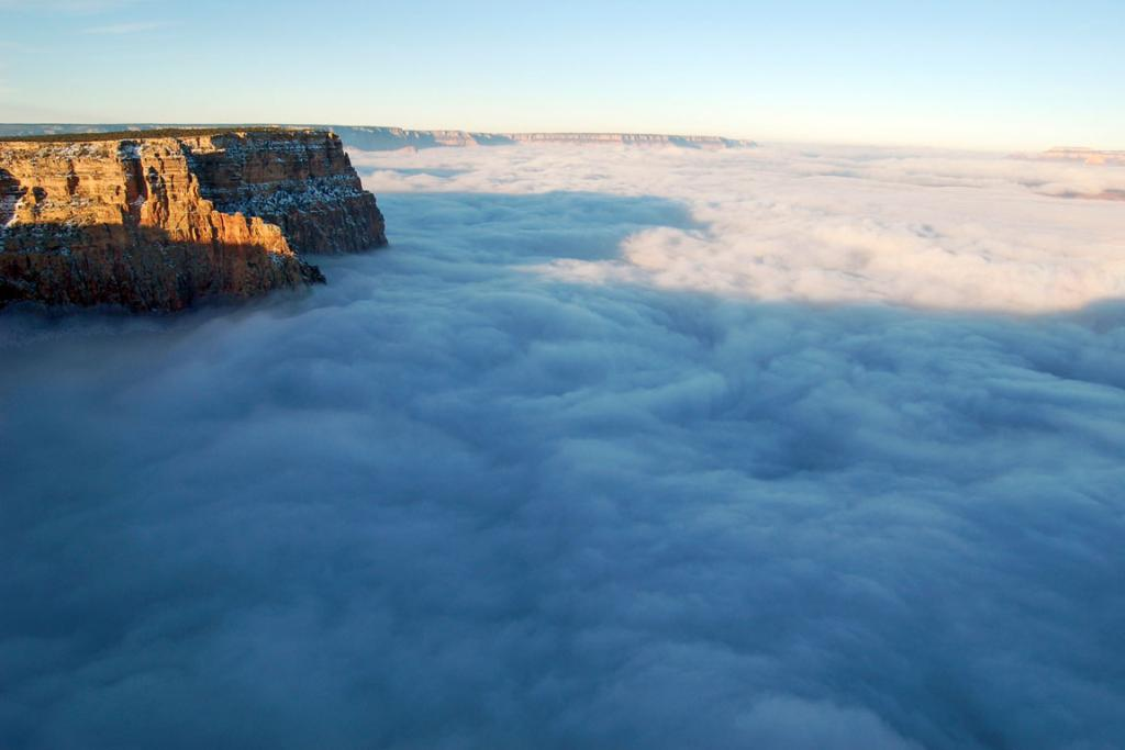 A rare total cloud inversion as seen from Desert View Point, the eastern-most developed area on the South Rim of the Grand Canyon National Park in Grand Canyon, Arizona.