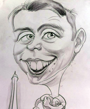 """CARICATURE: """"Even though the end result was far from flattering, it was a great and hilarious gift from my family."""""""