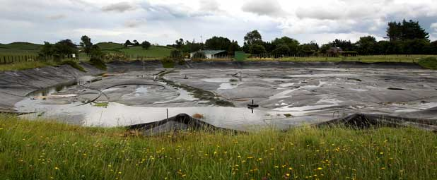 BIG STINK: The Eltham wastewater treatment plant pond where Fonterra has dumped buttermilk byproduct that is creating a stink with nearby residents.