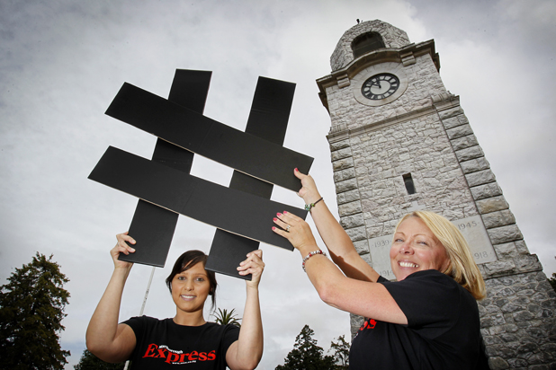 Social campaign: Express reporter Sonia Beal and Marlborough Chamber of Commerce office manager Debbie Carter who is leading an online campaign to win Blenheim access to the fastest broadband in Australasia.
