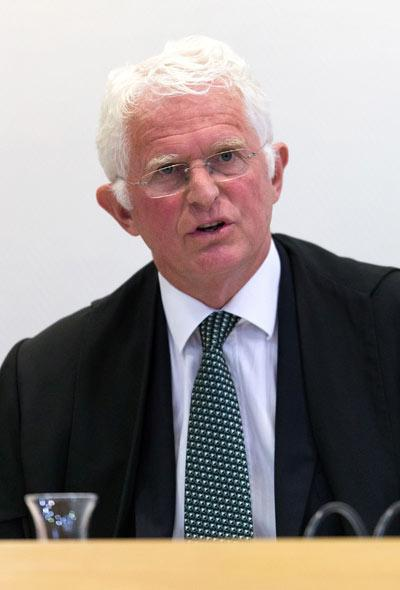 Justice David Gendall addresses the court during the trial of Helen Elizabeth Milner, a 50-year-old woman on trial in the High Court in Christchurch, Crown alleges she drugged and probably suffocated her husband and claimed he had committed suicide.