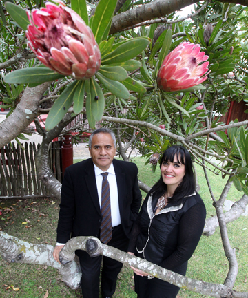 LIVING LEGENCY: Tukoroirangi Morgan and Mania Hope at the protea tree planted in 1995 by Nelson Mandela at Turangawaewae.