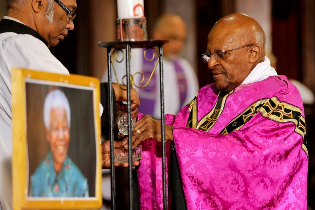 MEMORIAL SERVICE: Former Archbishop of Cape Town and veteran anti-apartheid campaigner Desmond Tutu held a mass at Cape Town's Anglican St George's Cathedral for Mandela.
