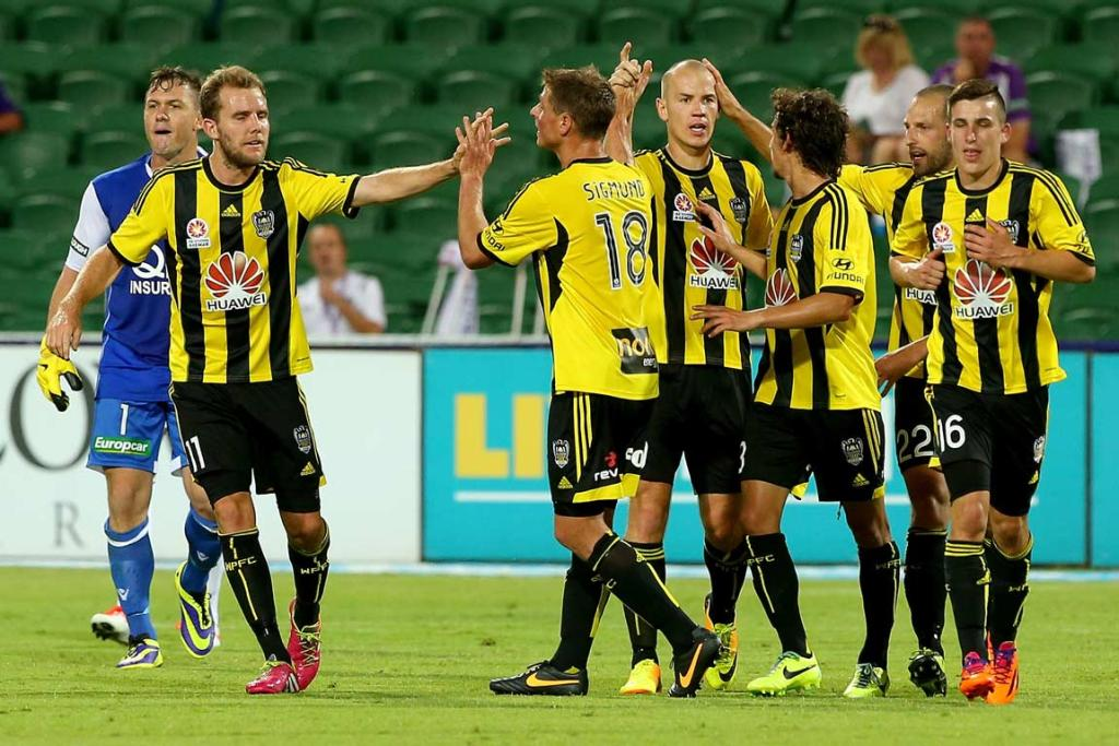 Stein Huysegems (centre) celebrates his 36th minute goal with team-mates.