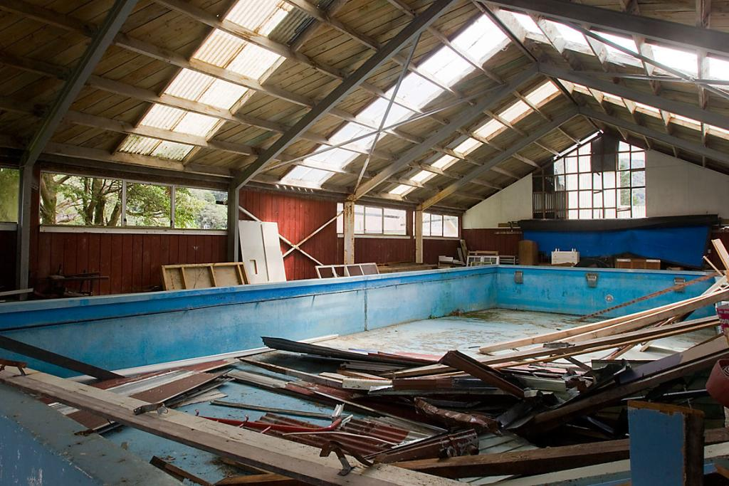 STORAGE: A new use has been found for the Otira swimming pool.