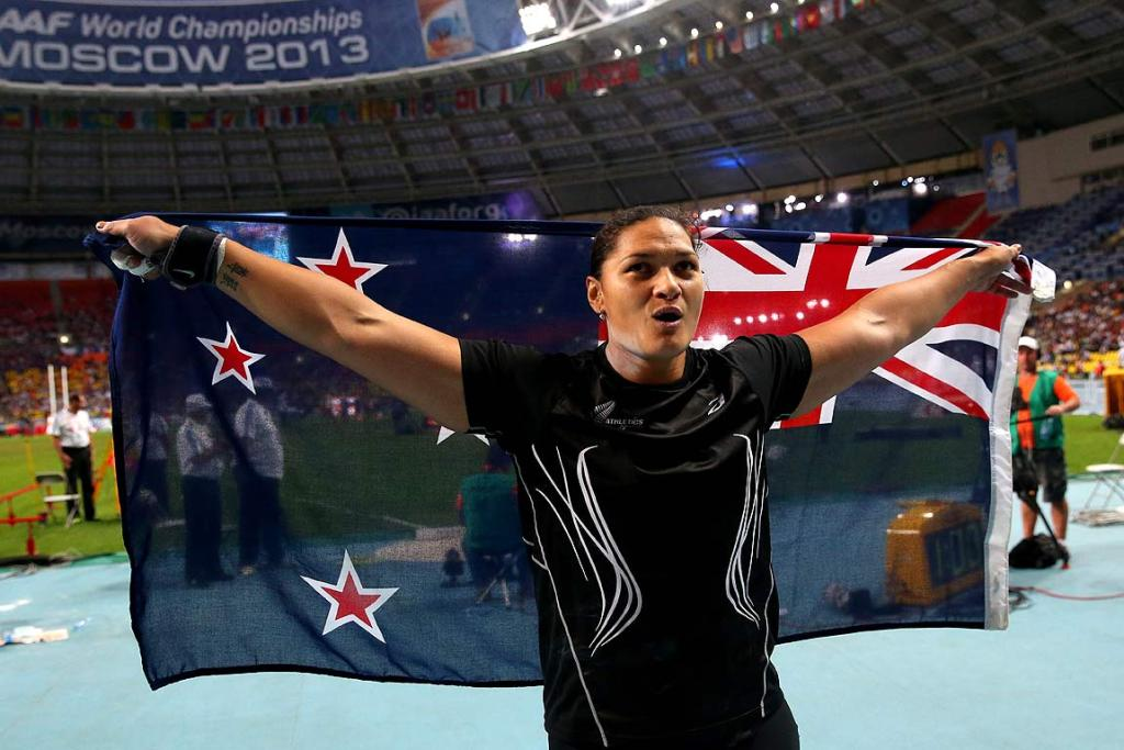 Valerie Adams celebrates winning gold at the World Championships in Moscow.