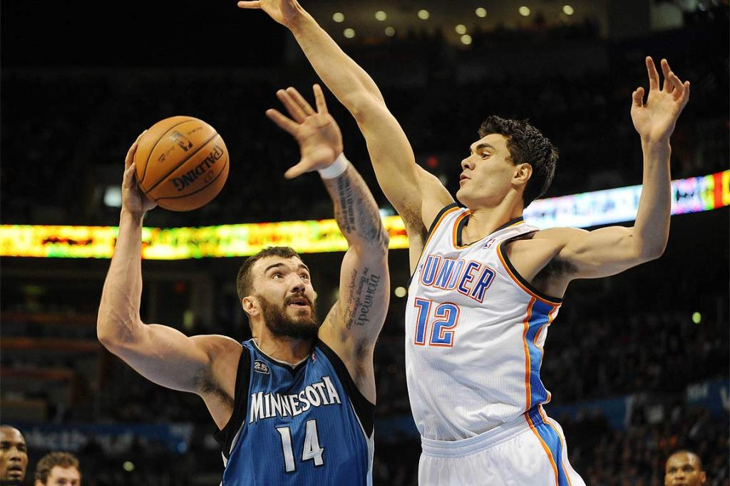 Steven Adams, right, in action for the Oklahoma City Thunder.