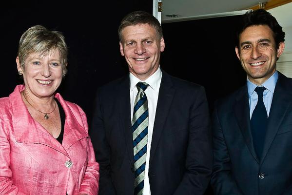 Mayor Lianne Dalziel, Bill English, Raf Manji