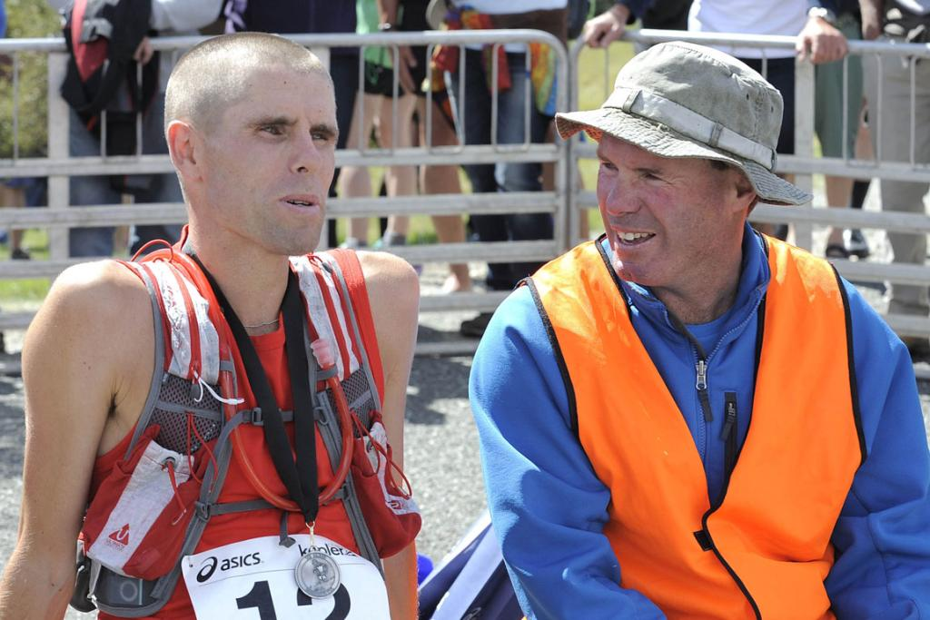 Vajin Armstrong with Steve Norris after the Kepler Challenge on Saturday at Te Anau.