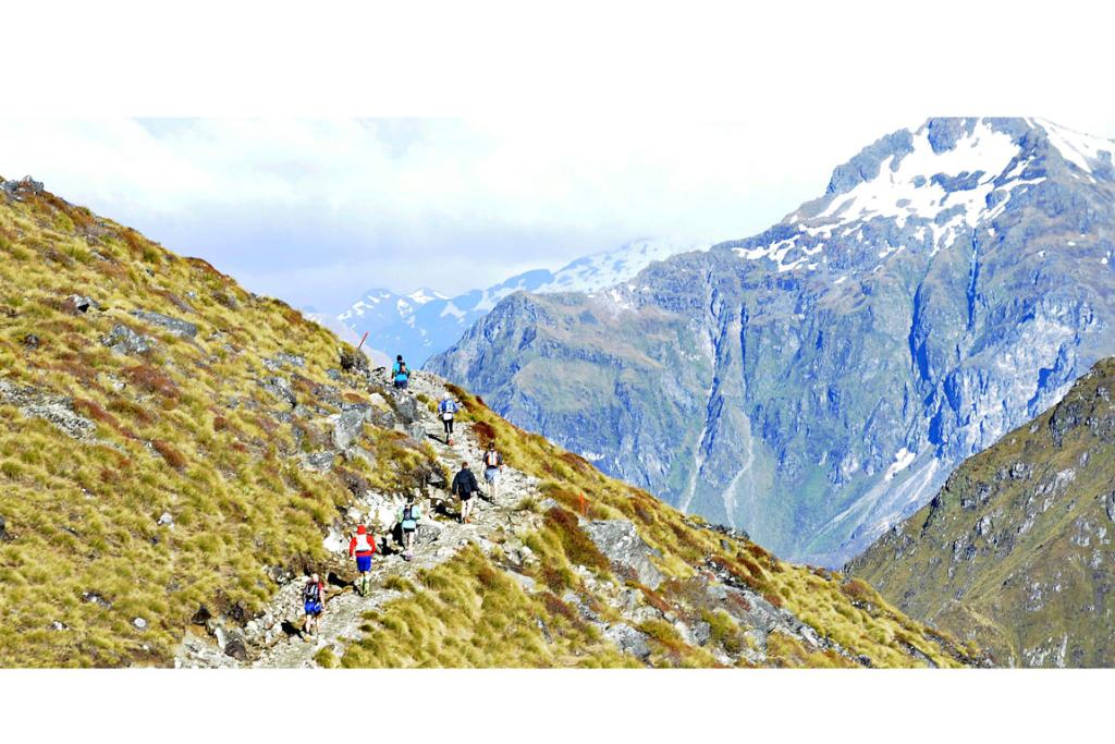 Competitors in the mountains during the Kepler Challenge at Te Anau on Saturday.