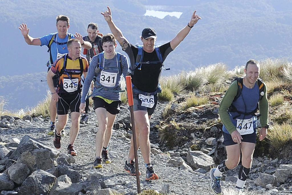 Competitors led by Pete Wilkinson, of Winton, during the Kepler Challenge at Te Anau on Saturday.
