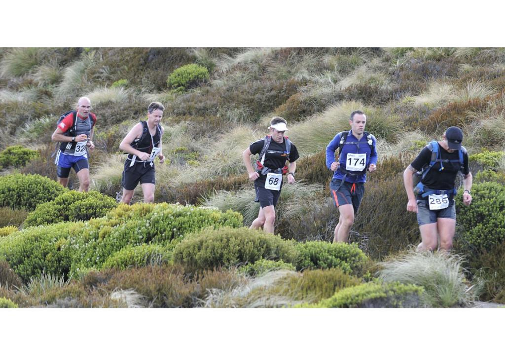Competitors approaching the Luxmore Hut during the 2013 Kepler Challenge at Te Anau on Saturday.