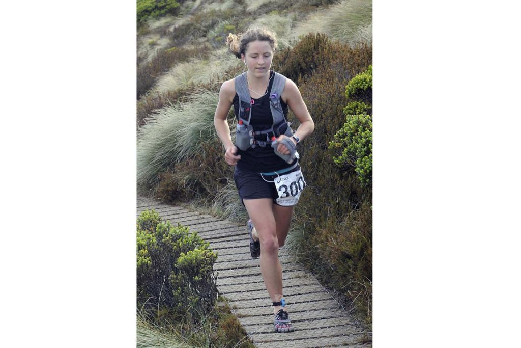 Ruby Muir, of Napier, approaches the Luxmore Hut during the 2013 Kepler Challenge at Te Anau on Saturday.