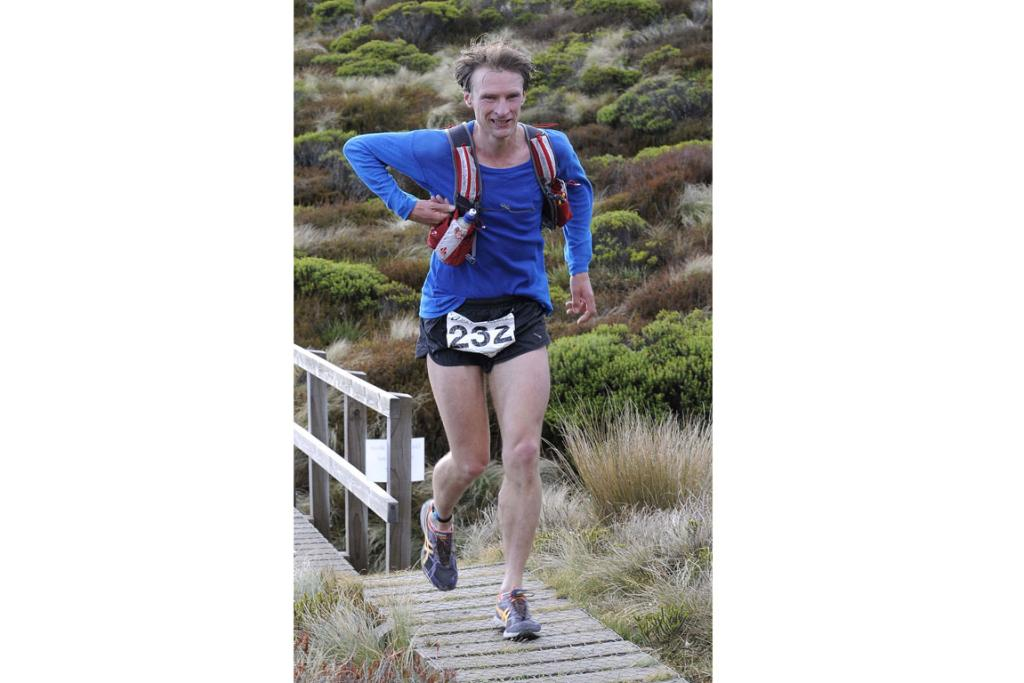 Martin Lukes heads towards the Luxmore Hut during the 2013 Kepler Challenge at Te Anau on Saturday.