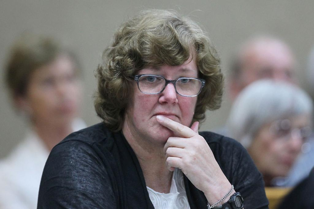 MURDER TRIAL:  Helen Milner listens to evidence in the Christchurch High Court.