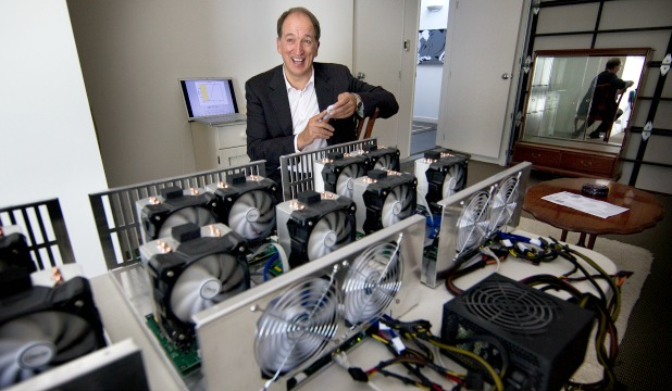 VIRTUAL RICHES: William Mook, with his supercomputers that he has solving complex problems. This earns him bitcoins, which can be exchanged for goods and services in more than 12,000 businesses worldwide.