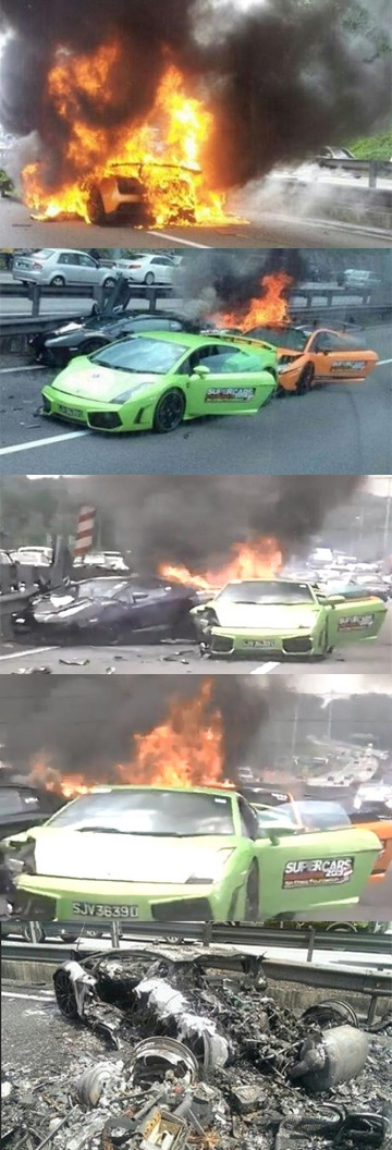 A montage of photos showing a Lamborghini Aventador, Gallardo and Gallardo Superleggera burning to the ground after an accident.
