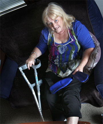 TRIPPED UP: Frances Walker will be slowed this Christmas after a fall in Stafford St.