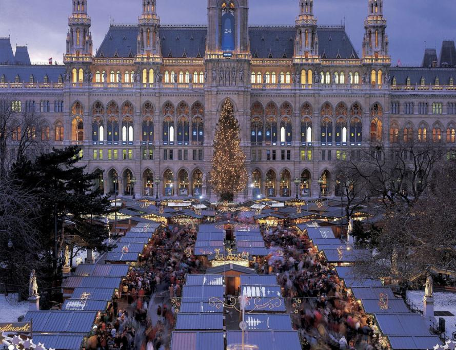 The Rathausplatz, the square in front of city hall, is dedicated to the Christkindlmarkt holiday market in Vienna, Austria.