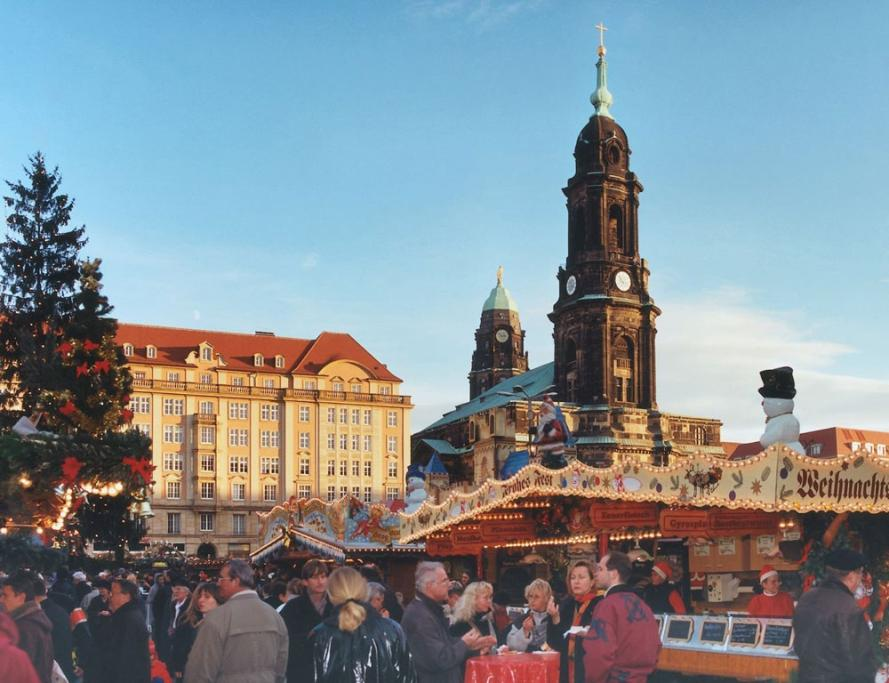 People visit the Christmas Market in Dresden, Germany.