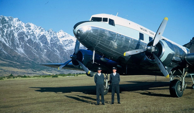 Captain John Evans and co-pilot, the late Allan Pruden, with a Mount Cook Airlines DC3 on the then unsealed runway of the Frankton Aerodrome.