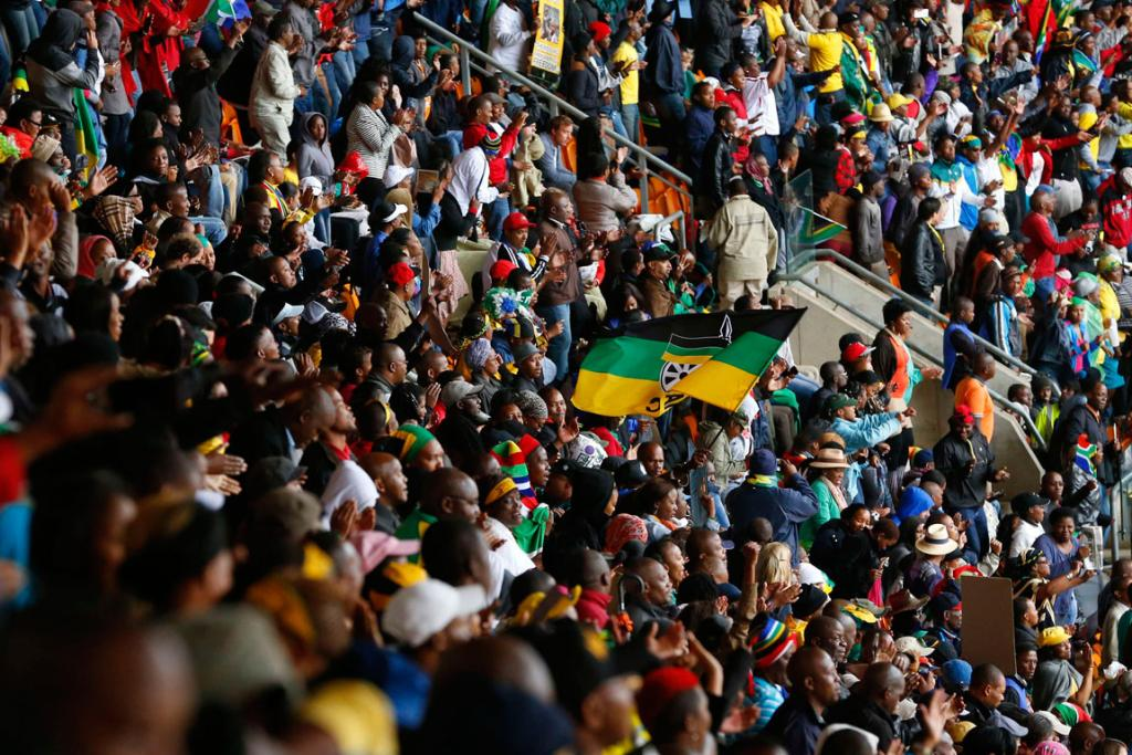 LIFE CELEBRATION: Crowds have filled a stadium in Johannesburg to farewell former South African leader Nelson Mandela, who died last week at the age of 95.