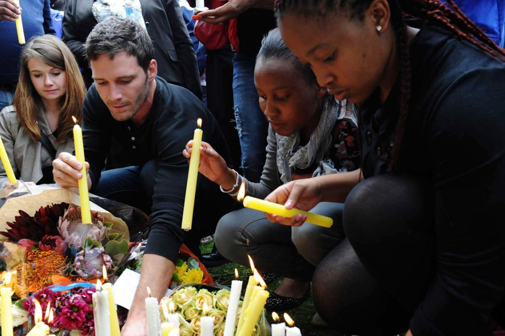 CANDLE LIGHT: South Africans have been laying tributes to Mandela since his death this month.
