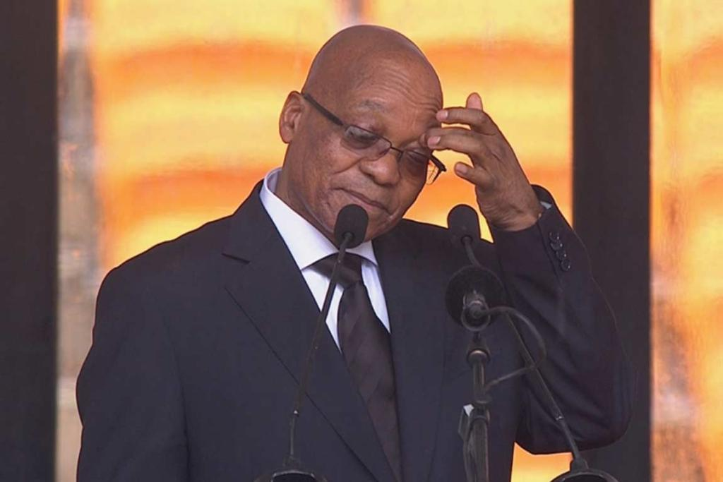 Under-fire South African President Jacob Zuma was booed and jeered before his speech.