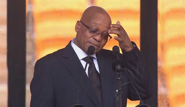 UNDER FIRE: South African President Jacob Zuma was booed and jeered before his speech at the memorial for Nelson Mandela.