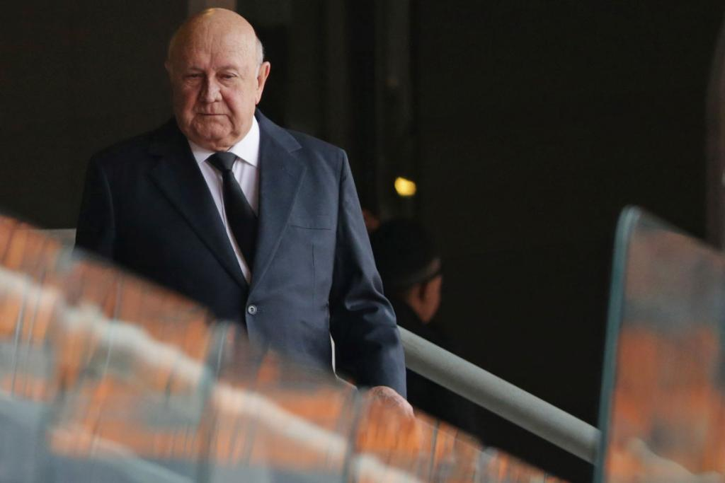FORMER LEADER: Ex-South African president FW de Klerk takes his seat in the stadium.