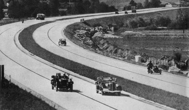 OPEN ROAD: A German autobahn, circa 1935, built under the Nazi regime of Adolf Hitler.