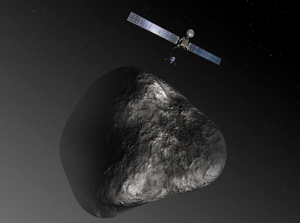 COMING IN: The Rosetta probe approaches a comet in this mock up image from the space agency.