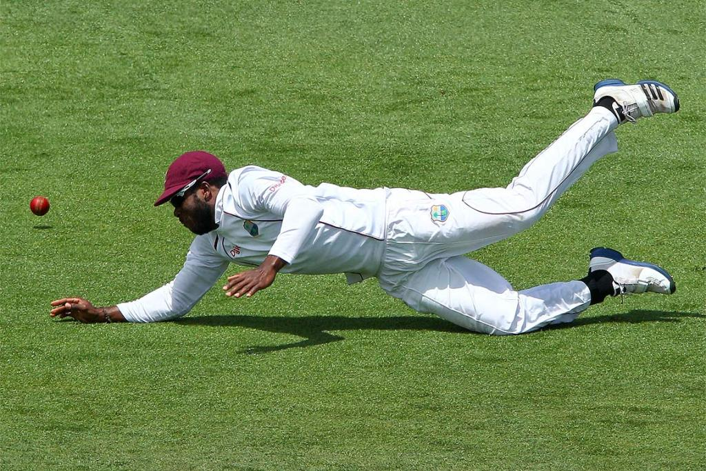 Kirk Edwards of the West Indies attempts to field the ball.