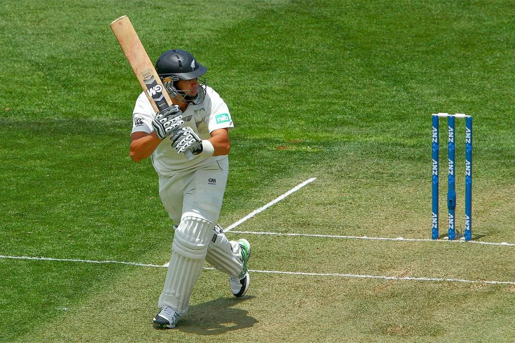 Ross Taylor bats during day one of the second test between New Zealand and the West Indies.