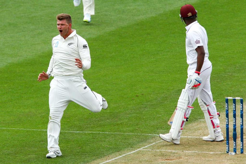 A fired-up Corey Anderson reacts after dismissing Darren Bravo.