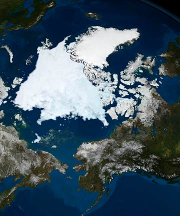 RESPITE: The state of Arctic sea ice is seen in this image taken by NASA's Aqua satellite on September 10, 2008. Scientists say the rapid melting eased up in 2013.