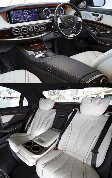 The luxurious inside of the Mercedes-Benz S-Class.