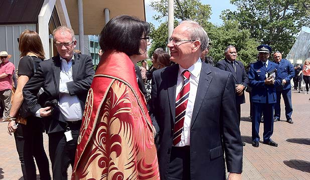 Mayor Len Brown is greeted by dean of Holy Trinity Cathedral, Rev Jo Kelly-Moore at the Nelson Mandela memorial service.