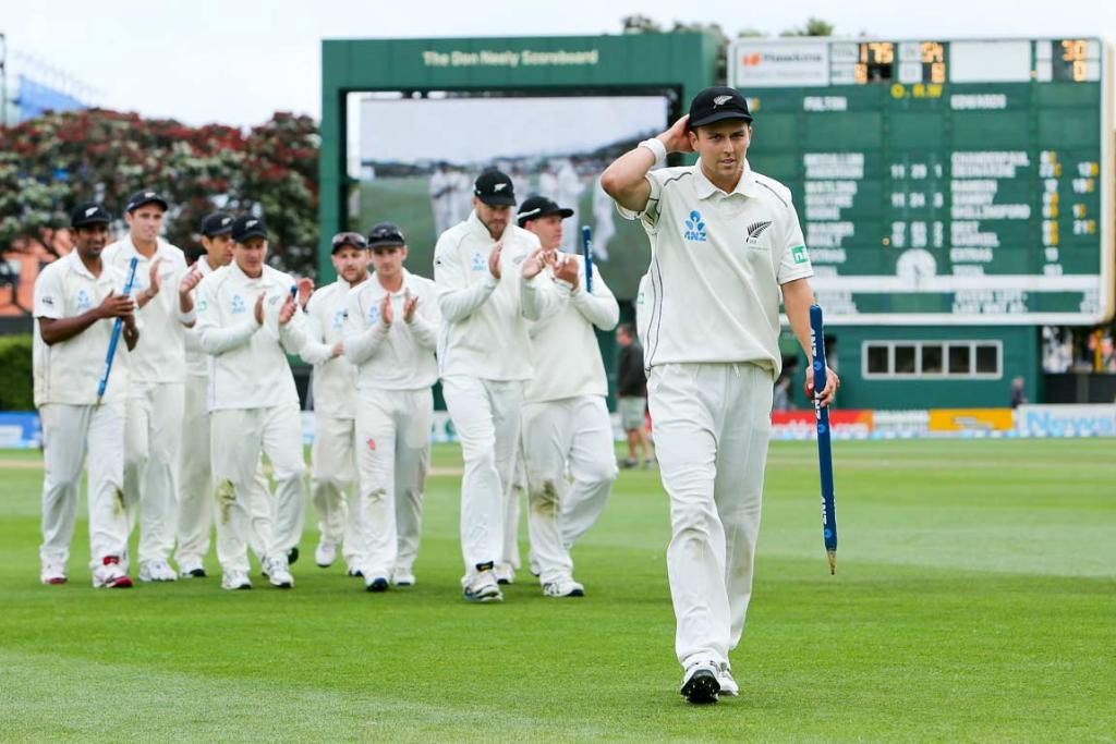 Trent Boult walks off to receive the applause after taking 10 wickets in the second test.