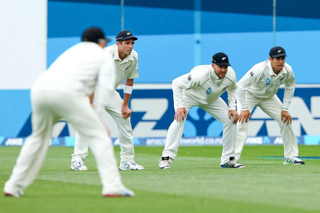 An eager Black Caps slip cordon await the next delivery.